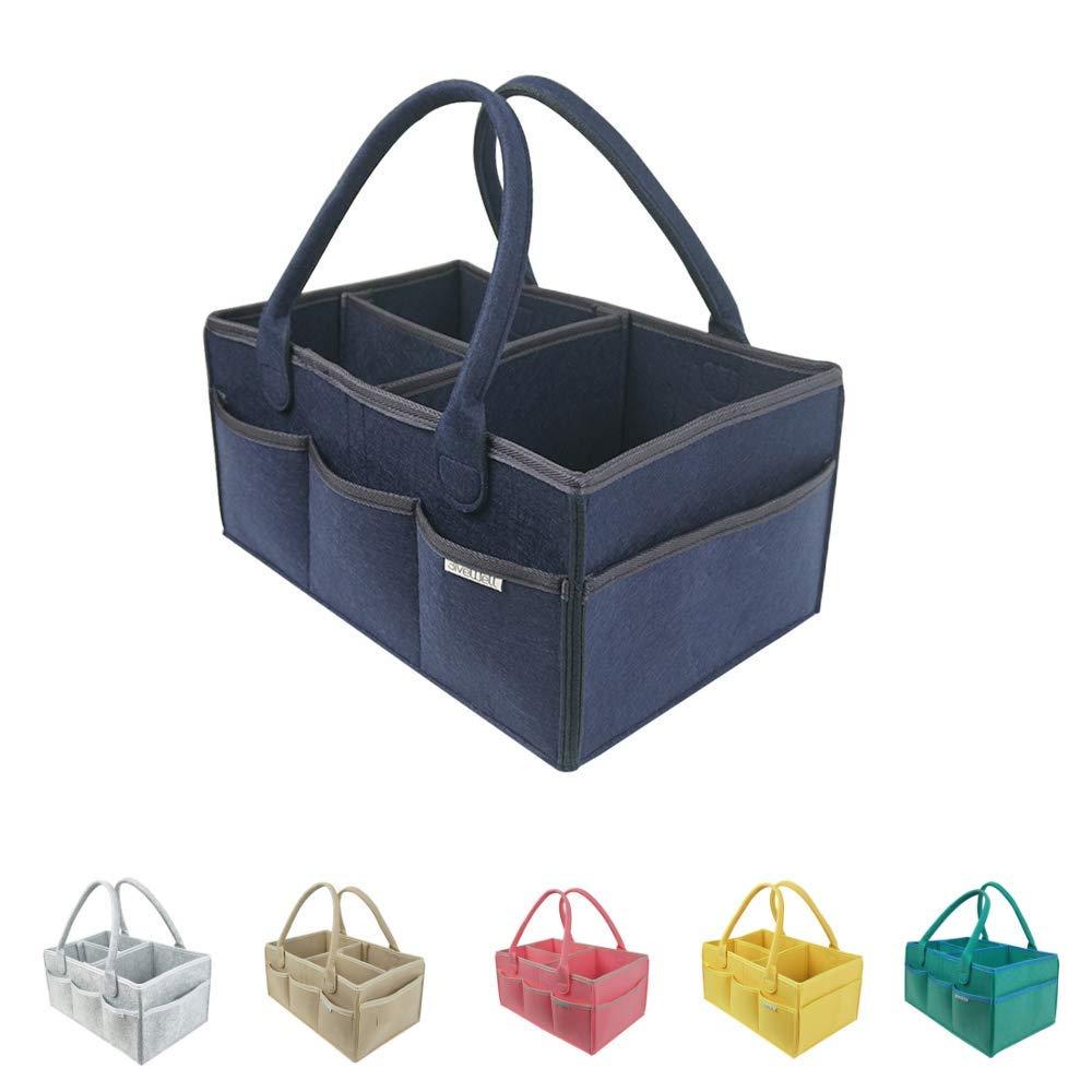 Diaper Caddy for Baby Room Décor and Nursery Storage Bin   Portable Backseat Car Organizer   Girl or Boy Baby Shower Gift Basket Registry Must Have Hamper (Dark Blue)