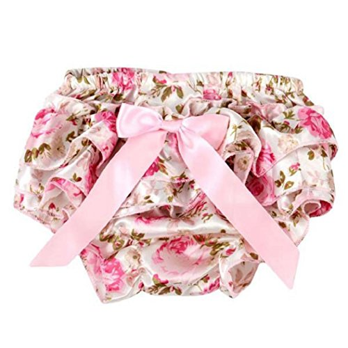 Gilroy Baby Girls Imitated Silk Ruffle Bowknot Bloomers Diaper Cover Shorts - Pink Rose (Silk Bloomers)