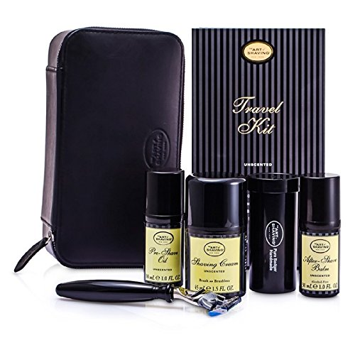 Travel Kit (Unscented): Razor+ Shaving Brush+ Pre-Shave Oil 30ml+ Shaving Cream 45ml+ A/S Balm 30ml+ Case - 5pcs+1case The Art Of Shaving