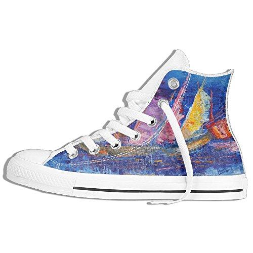 Sneaker Alta In Tela Con Pittura A Olio Per Barche Yuyu