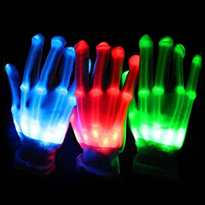 Halloween Glove Cool Gift Light Up LED Skeleton Hand Gloves Shinning At Night Colorful Charming Gloves For Friends