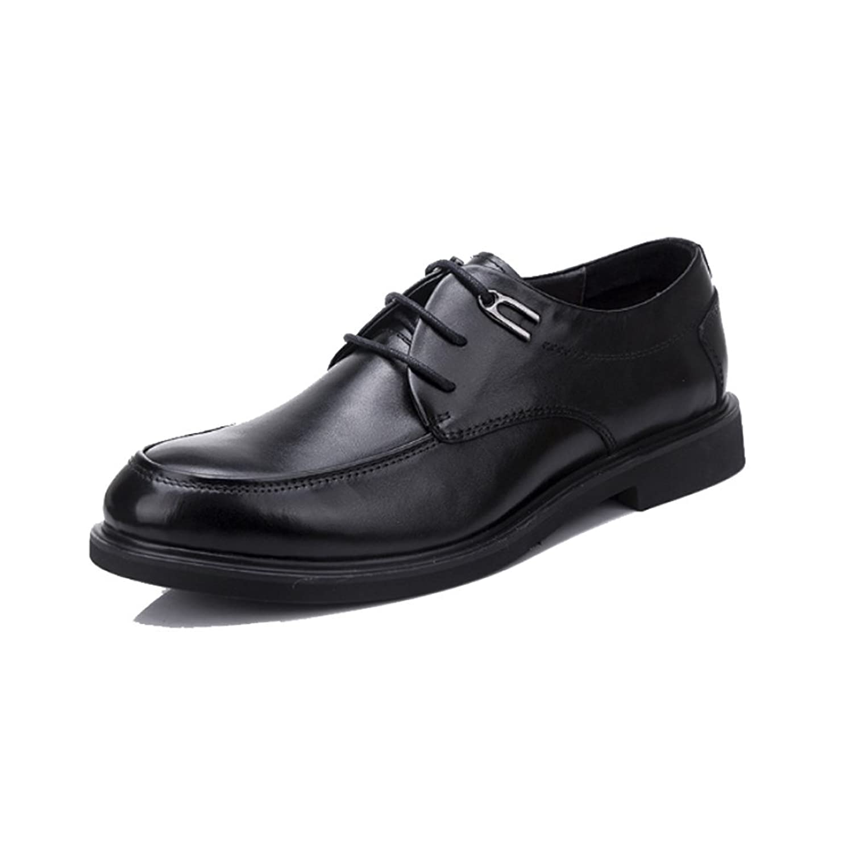 NIUMJ Hombres Verano Boda Casual Moda Comercial Transpirable Exterior Antideslizante Zapatos De Cuero Black