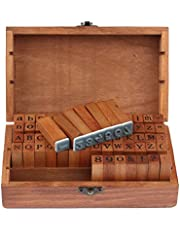 Konesky Letter Number Stamps Seal 70pcs Wooden Seal Mould for Diary Note and Greeting Card