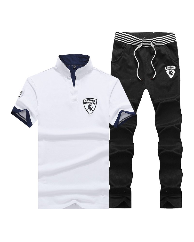 DianShao Men's Short Sleeve T-Shirt Trousers Tracksuits Sports Set Leisure 2 Pieces Suits