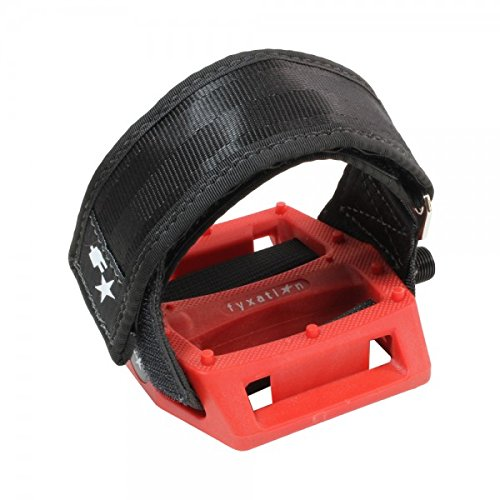 Fyxation Gates Pedal Strap Kit with Red Pedal and Black Stra