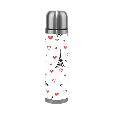 f3ebbcf5d Image Unavailable. Image not available for. Color  Love Heart Paris Water  Bottle Stainless Steel Leak Proof Double Walled Vacuum Insulated Travel  Coffee Mug