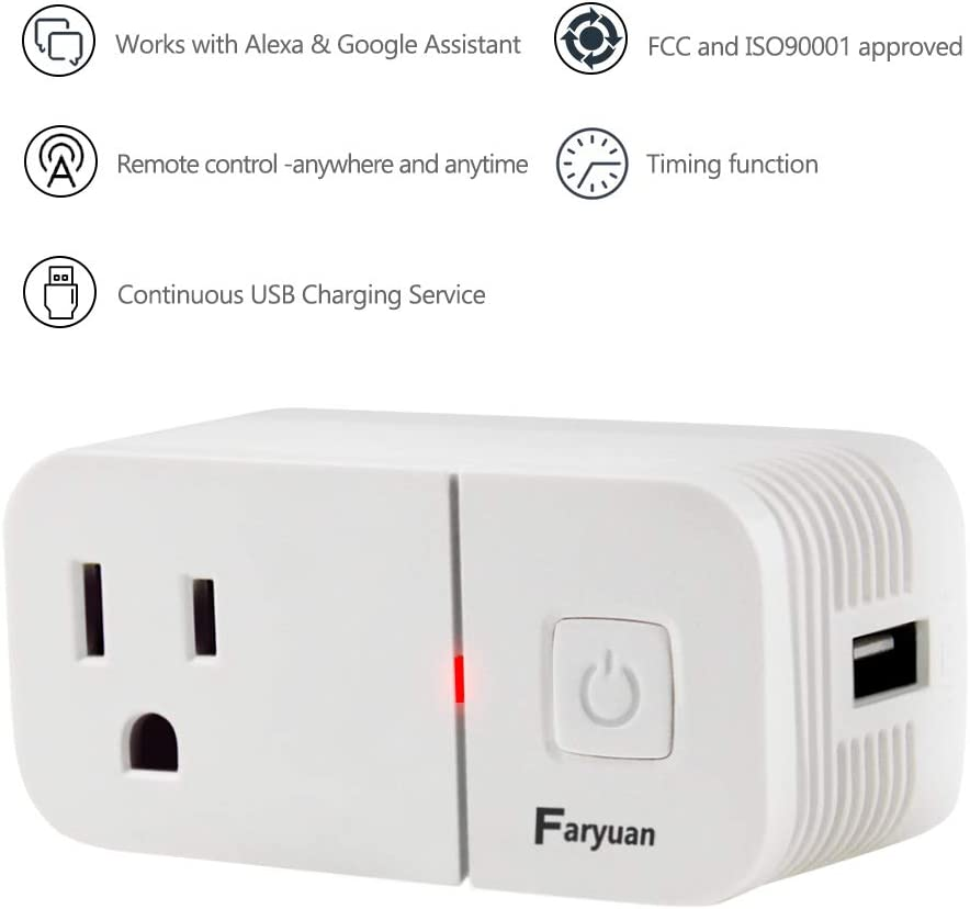 Compatible with Alexa Google Home 1 pack Faryuan Smart WiFi Outlet with USB Charger 5V 2.1A Compact Remote Socket