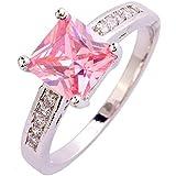 Amethyst Pink Blue White Gemstone Women AAA Silver Ring Size 6 7 8 9 10 11 12 13#by pimchanok shop (8, 421 Pink Topaz)