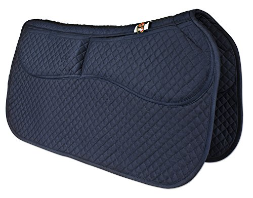 ECP Western Saddle Pad All Purpose Diamond Quilted Cotton Therapeutic Contoured Correction Support Memory Foam Pockets for Riding Color Midnight Blue