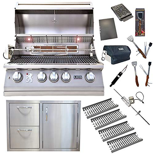 Lion Premium Grills 32-Inch Natural Gas Grill L75000 w/ 4 Ceramic Tubes w/Flame Tray and Made in USA Door/Drawer Como Unit and 5 in 1 BBQ Tool Set Best of Backyard Gourmet Package Deal