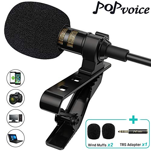 PoP voice Professional Lavalier Lapel Microphone Omnidirectional Condenser Mic for
