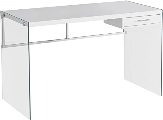 Monarch Computer Desk, Glossy White, 48