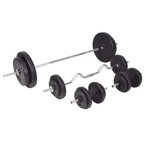 vidaXL Juego de Pesas 90kg Barra y Mancuernas Fitness Musculación Gimnasio Gym: Amazon.es: Deportes y aire libre