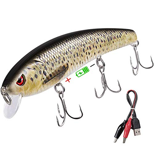 TRUSCEND Bass and Trout Fishing Lures,Twitching Lures Rechargeable USB Intelligent LED with Mustad Hooks Freshwater and Saltwater,Minnow Jerkbait Crankbait ()