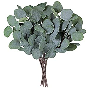 "SUPLA 10 Pcs Fake Eucalyptus Leaves Stems Bulk Artificial Silver Dollar Eucalyptus Leaves Plant in Grey Green 11.8"" Tall Wedding Greenery Artificial Greenery Holiday Greens Floral Arrangement 8"