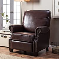 Recliner Chair Leather for Any Living Room Decor. This Recliner Is Made of Rich Satin Brown Finish with Classic Nail Head Trim. Traditionally Styled, Sophisticated Recliner Constructed with Plywood.