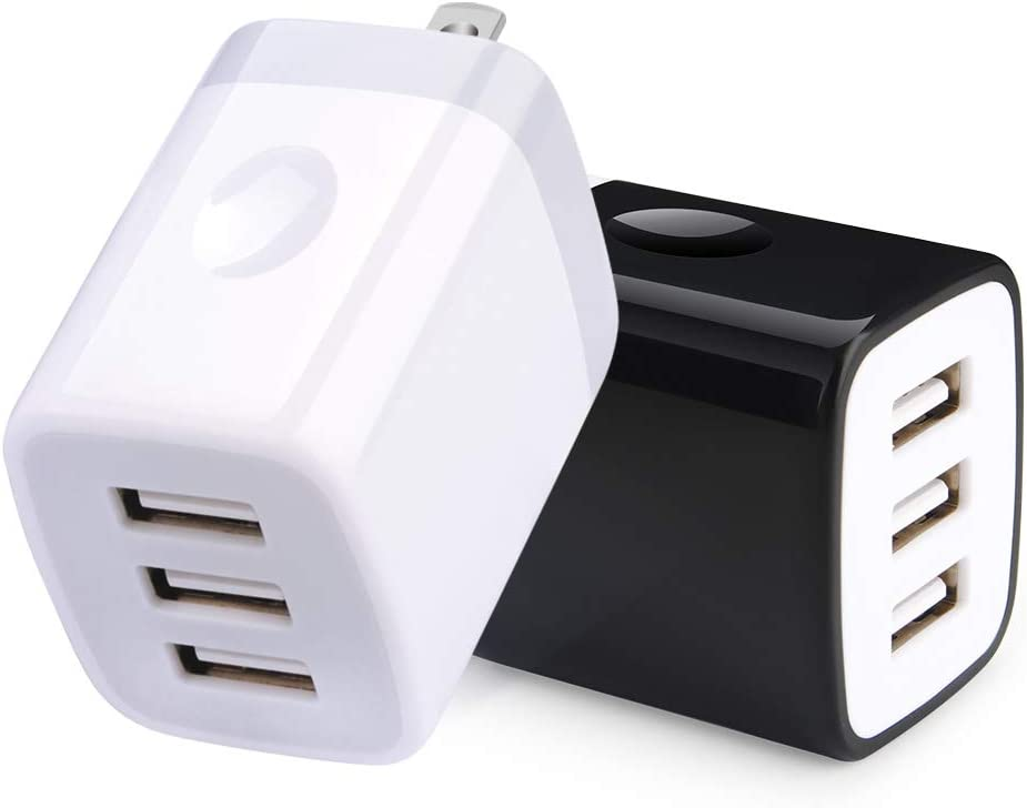 USB Wall Charger, 3.1A/2Pack Muti Port USB Charging Block Cube Adapter Portable Wall Charger Plug Compatible for iPhone Xs X 8 7 6s Plus Samsung S9 S8 S7 S6 Note 8, LG, Nexus, HTC, Android Phone