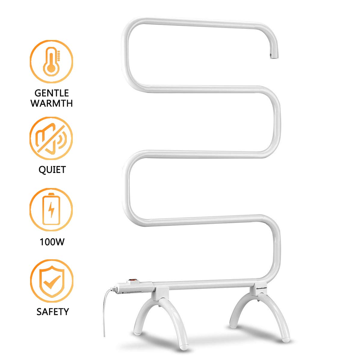 hl Hot Towel Warmer for Bath and Heated Drying Rack, Free Standing and Wall Mounted Optional, 100 Watt Heated Towel Rack, White