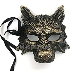Gold Black Wolf Mask Animal Masquerade Halloween Costume Cosplay Party mask