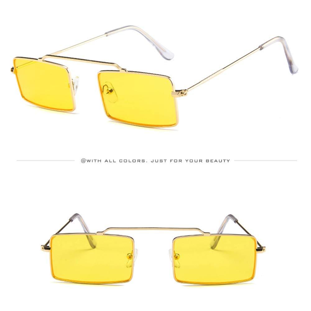 FRAUIT Occhiali Da Sole Vintage Piccoli Occhiali Da Sole Rettangolari per Unisex Donna Uomo Occhiali Da Vista Metallo Retro Stile