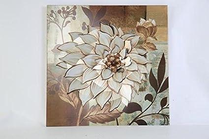 TWG Metal Wall Art Modern Wall Sculptures: Dahlia Flowers   Oak Garden Beige