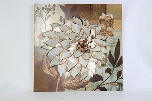 Metal Wall Art Modern Wall Sculptures: Dahlia Flowers - Oak Garden Beige