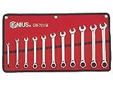 Genius Tools (GW-7611M) 11 Piece Metric Combination Ratcheting Wrench Set