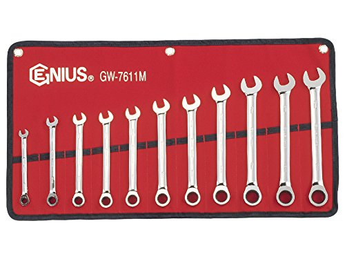 Genius Tools (GW-7611M) 11 Piece Metric Combination Ratcheting Wrench Set