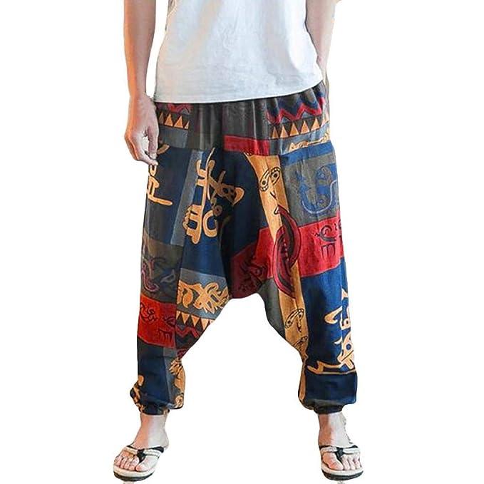 SHOBDW Pantalones Mujer Hombres Unisex Lindo Suelto Talla Grande Impresión Vintage Gota Entrepierna Floral Yoga Joggers Aladdin Boho Harem Moda ...