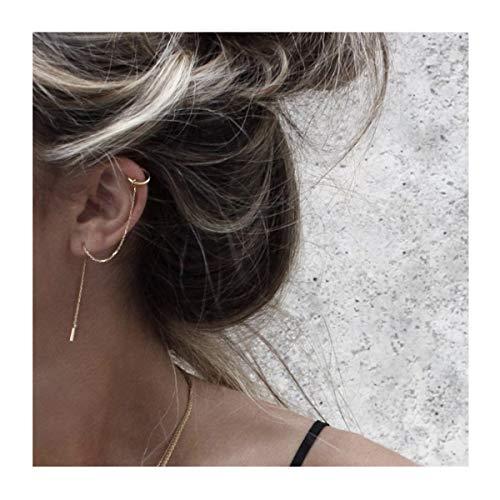 FarryDream 925 Sterling Silver Cuff Chain Earrings Wrap Tassel Earrings for Women (Yellow Gold)