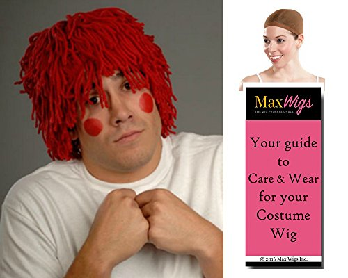 Raggedy Andy color Red Yarn - Enigma Wigs Doll Mens Yarn Bundles String Animated Clown Cosplay Pigtails Bundle w/Cap, MaxWigs Costume Wig Care Guide ()