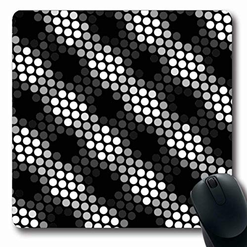 Ahawoso Mousepads White Bubble Black Gray Checkered Floor Polka Line Abstract Circle Creative Digital Digitally Dirty Oblong Shape 7.9 x 9.5 Inches Non-Slip Gaming Mouse Pad Rubber Oblong Mat