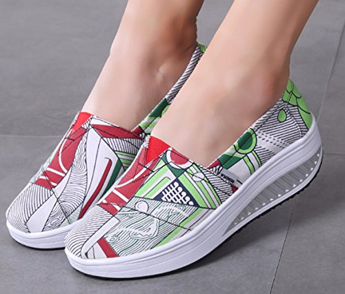 LFEU Lona Zapatillas Mujer Verde de Running de SwqFc8S4