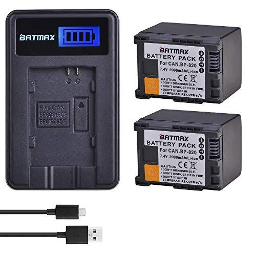 Batmax 2Pcs 2000mAh BP-820 BP-820 Battery + LCD USB Charger for Canon VIXIA GX10,HF G21,HFG30,HFG40,HFM30,HFM31,HFM32,HFM300,HFM301,HFM40,HFM41,HFM400,XA10,XA11,XA15,XA20,XA25,XA30,XA35,XF400,XF405 Ca ()