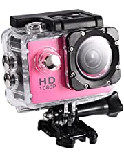 Action Camera 12MP Waterproof 30m Outdoor Sports Video DV Camera 1080P Full HD LCD Mini Camcorder with 900mAh Rechargeable Batteries and Mounting Accessories Kits(Pink)