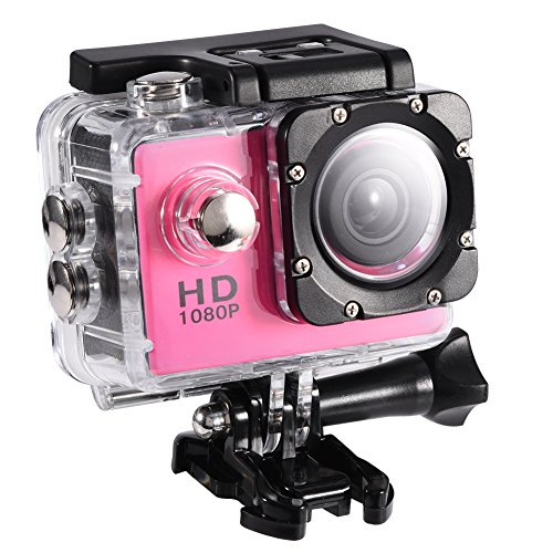 Action Camera 4K WiFi Waterproof 30m Outdoor Sports Video DV Camera 1080P Full HD LCD Mini Camcorder with 900mAh Rechargeable Batteries and Mounting Accessories Kits(Pink)