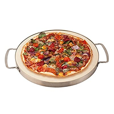 "Round 13"" Cordierite Pizza Stone with removable stainless steel frame and handles. Suited to oven or grill. Great for pizza, baking breads and cookies. Great when entertaining family and friends."