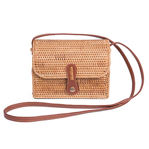 Square Rattan Bag for Women Handmade Straw Crossbody Bag Shoulder Leather Straps Boho Bali by Enmain (Rattan Bali Bags)