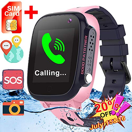 [Free SIM Card] Upgrade Waterproof Smart Watches-GPS Tracker Game Smart Watch Phone for Kids Boys Girls Birthday Gifts Back to School Supplies Wrist Watch with Touch Screen Camera SOS Call (Pink) -