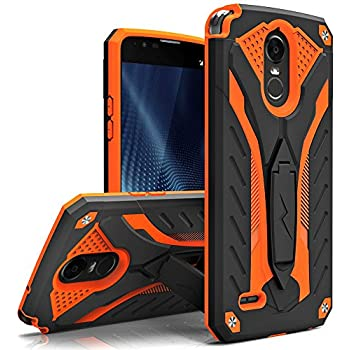 Zizo STATIC Series compatible with LG Stylo 3 Case Military Grade Drop Tested with Built In Kickstand LG Stylo 3 Plus BLACK ORANGE
