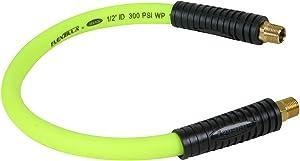 Flexzilla Swivel Whip Air Hose, 1/2 in. x 2 ft. (3/8 in. MNPT Swivel x 3/8 in. MNPT Ends), Heavy Duty, Lightweight, Hybrid, ZillaGreen - HFZ1202YW3S