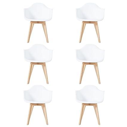 EGGREE Set di 6 Sedie Cucina Bianche Scandinavo Poltrona Design ...