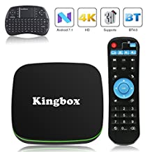 2018 Kingbox K1 Android 7.1 TV Box with Free Mini Wireless Keyboard Supporting BT 4.0 / 4K (60Hz) Full HDMI/H.265 / WiFi 2.4GHz Smart TV Box (k1+Mini Keyboard)