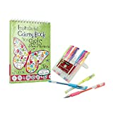 Stress Relieving Inspirational Adult Coloring Book Sets with Gels Pens (Inspirational Coloring Book For Girls, Fluorescent)
