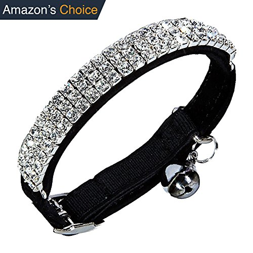 Diamond Bling Collar | Safe Leather Rhinestones Crystal Diamante with Adjustable Clasp Up To 11 inch and Ring Bell | For Puppy Kitten Cat Small Dog | Vibrant Black