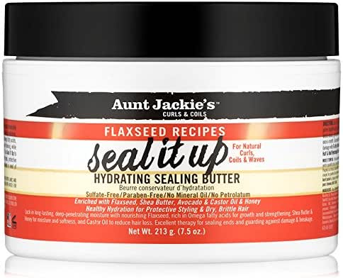 Aunt Jackie's Flaxseed Recipes Seal It Up, Hydrating Sealing Butter, Helps Prevent and Repair Damaged Hair, 7.5 Ounce Jar