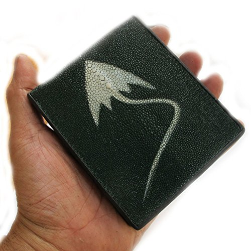 Genuine Sting RAY Leather for You Bi-fold Wallet 1 White Pearl From Thailand.