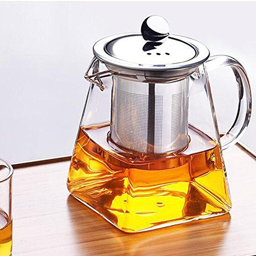Glass Teapot Heat-resistant Glass Stainless Steel Filtering Teapot Square Flower Teapot High-temperature Resistance Glass - Steel Teapot Stainless Square