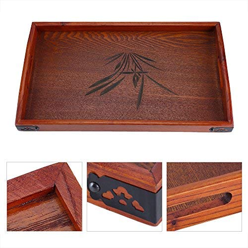 Solid Wood Tray,Acogedor Brown Serving Tray with Handles,Hollowed-Out Cherry Blossoms Tea Tray,Non-Slip Tray for Hotels, Restaurants, Coffee Shops, Canteens, Home,17.72 x 10.63x 1.18inch