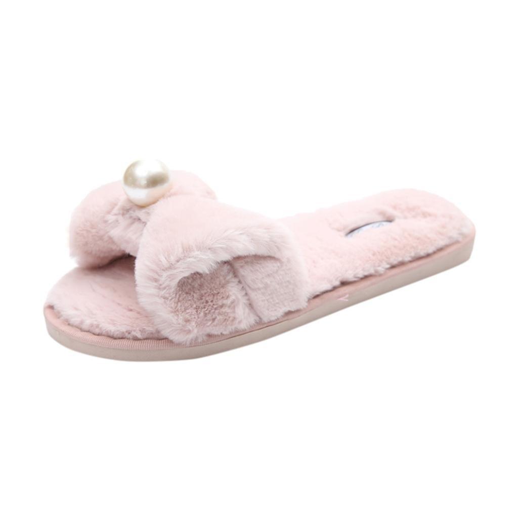Rawdah - Claquette Femme Glissez 19629 sur Les Flip Diapositives Fluffy en Fausse Fourrure Plat Slipper Flip Flop Sandal Tongs Chaussures (39 EU, Rose) - a7a034e - conorscully.space